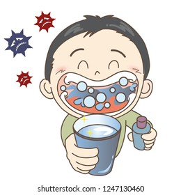 Prevention of colds and influenza - gargle - Boy