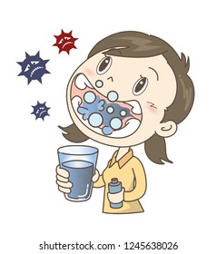 Prevention of colds and influenza - gargle - girl
