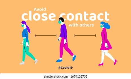 Prevention of Coronavirus or Covid-19 disease, people walking and avoid close contact with others concept