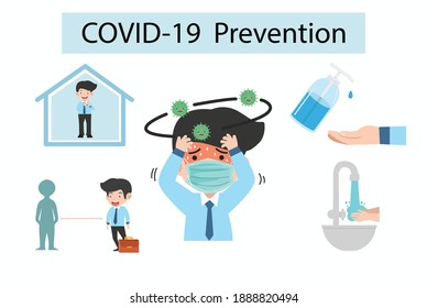 Prevention Coronavirus COVID-19 infographic with copy space