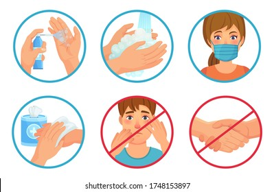 Prevention of coronavirus infection. Use face mask, sanitizer and wash your hands. Dont touch face and no handshakes, prevent SARS-CoV-2 vector illustration set. Wash hand, regulation no touch face
