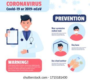Prevention of coronavirus infographic poster vector illustration. Covid-2019 protection flyer