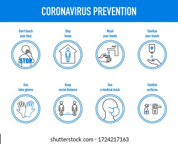 The prevention of coronavirus - the use of a medical mask and gloves, don't touch face, wash and sanitize hands, disinfection surfaces, maintaining a social distance, stay home. Vector illustration