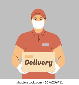 Prevention of coronovirus, covid-19. Delivery of the product during quarantine. A courier in a face mask and white gloves with a box in his hands.