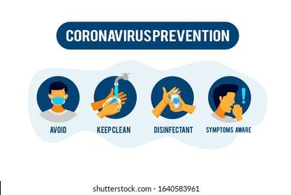 Prevention information illustration related to 2019-nCoV. Vector illustration to avoid Coronavirus.