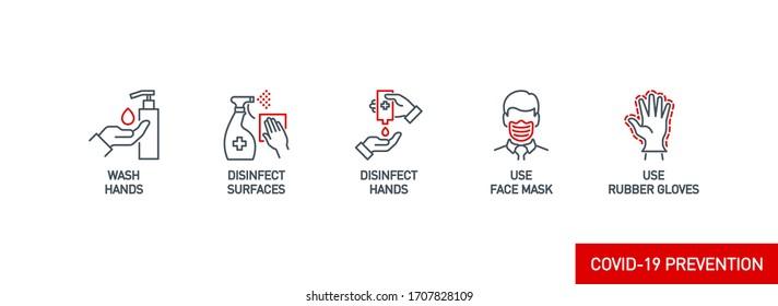 Symbole der Vorbeugungslinie einzeln auf Weiß. Umrisssymbole Coronavirus Covid 19 pandemische Banner. Maske, Handschuhe, Entfernung, Hände waschen, Desinfektion waschen, bei bearbeitbarem Stroke zu Hause bleiben