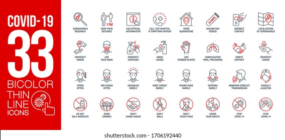 Prevention and symptoms Coronavirus Covid 19 line icons set isolated on white. Perfect outline health medicine symbols pandemic banner. Quality design elements virus treatment with editable Stroke - Shutterstock ID 1706192440