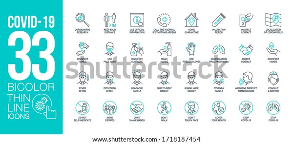 Prevention and symptoms Coronavirus Covid 19 line icons set isolated on white. Perfect outline health medicine symbols pandemic banner. Quality design elements virus treatment with editable Stroke