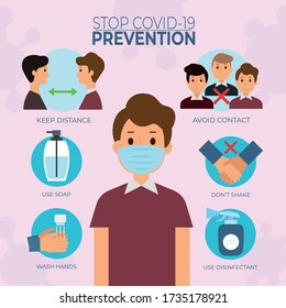 Prevention Tips Sign & Symbol Concept virus. Prevention symbol icons Signs and Symptoms words as medical concept. Surgical or medical face mask maintain social distancing to prevent from virus. - Shutterstock ID 1735178921