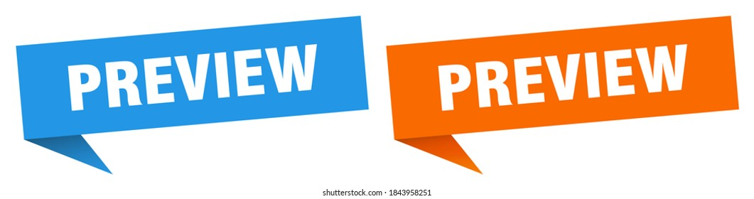 preview banner sign. preview speech bubble label set