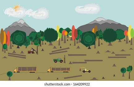 Preview of cutting down and exploiting of trees in forest vector illustration