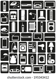 Preview white icons in black rectangles with  topic Appliances.