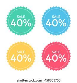 price badge icon. discount 40% percent.