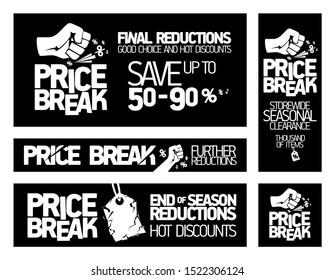 Price break banners set - storewide seasonal clearance, end of season reductions, hot discounts