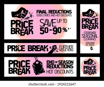 Price break banners vector set for seasonal clearance and discounts - end of season reductions, storewide savings, hot discounts, etc.