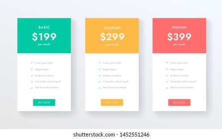 Price chart web banners for hosting, subscription and internet. Ui ux colums with business plans. Tariffs tabs vector design.