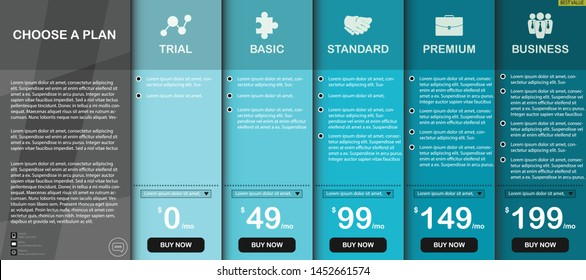 Price comparison modern table vector and illustration for five products, Design for business or finance, use for template, layout, website, interface, commercial, service and other.