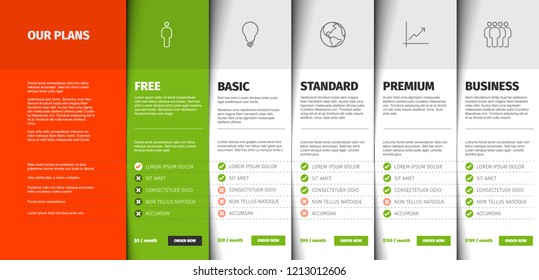 Price comparison table for five products / services with description and icons - white version