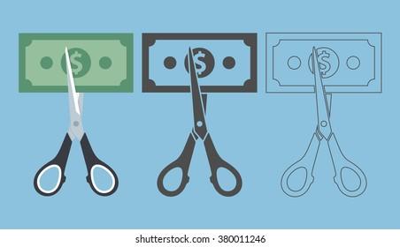 Price or cost cut concept. Scissor cutting money bill in half. Vector illustration