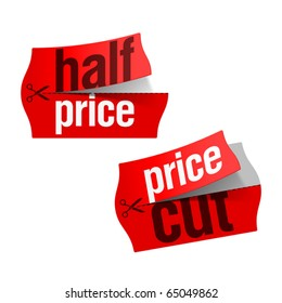 Price cut and Half price stickers. Vector.
