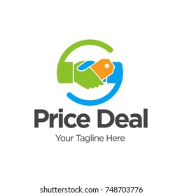 Price deal logo, handshake in circle with price tag  Vector Logo Design Template Design