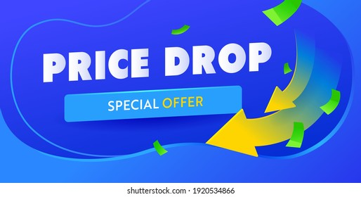 Price drop blue banner template. Arrow down cheaper campaign poster. Vector