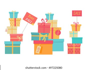 Price fall sale concept set. Big piles of colorful wrapped gift boxes. Mountain gifts sale. Beautiful present boxes with bows. Gift box icons, symbols. Christmas sale. Isolated vector illustration