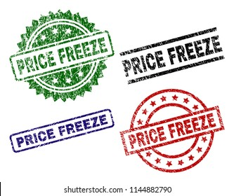 PRICE FREEZE seal prints with distress texture. Black, green,red,blue vector rubber prints of PRICE FREEZE label with grunge texture. Rubber seals with circle, rectangle, medal shapes.