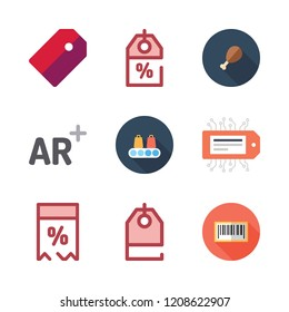 price icon set. vector set about supermarket, augmented reality, price tag and discount icons set.