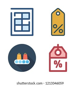 price icon set. vector set about tag, supermarket, finance book and discount icons set.