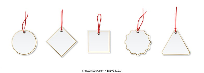 Price or label tags mockup template set. Blank cards with red strings for gifts or sales with different shapes: round, rectangle, square. Empty stickers with gold frames vector illustration.