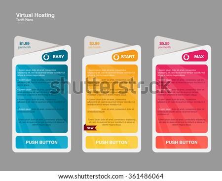 price list hosting plans web boxes のベクター画像素材 ロイヤリティ