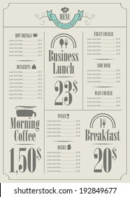 price list for the restaurant menu