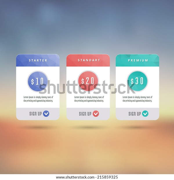 Price List Widget 3 Payment Plans Stock Vector (Royalty Free