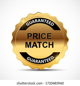 Price Match Guarantee Gold Label Sign Template Vector Illustration EPS10