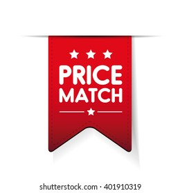 Price match red ribbon vector
