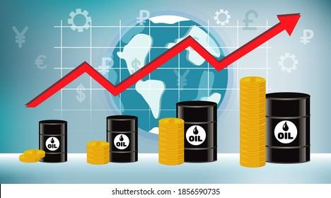 The price of oil is rising. Barrels of oil, money and infographics against the background of the globe and world currencies. Vector illustration, concept on a blue background.