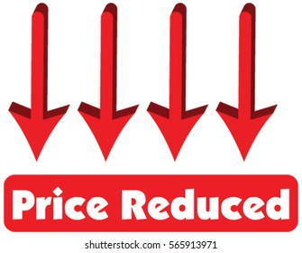 Price Reduced concept of red arrow pointing down is equal to price reduced. Vector illustration of text price reduced inside message for business sales.