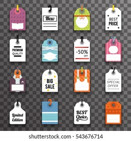 Price Sale Text Tag Symbol Labels Icons Set Transperent Background Vector Illustration