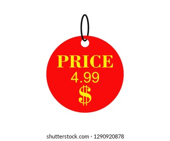 Price sticker 4,99 $