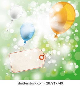 Price sticker with colored balloons on the bokeh background. Eps 10 vector file.