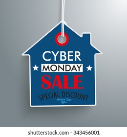Price sticker with house shape for the cyber monday on the gray background. Eps 10 vector file.