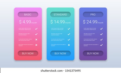 Price Table Business Template with Three Options on White Background