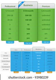 Price Table Template. Vector Illustration