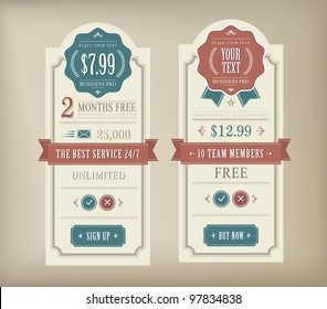Price table vintage web and print element