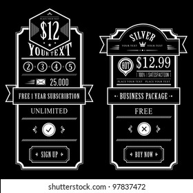 Price table vintage web and print design
