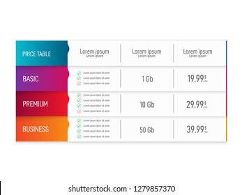 Price table for websites and applications. Business template. Vector illustration