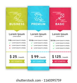Price table for websites and applications. Template of tariffs. Vector illustration
