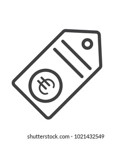 price tag euro outline icon