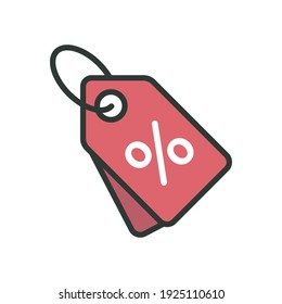 price tag icon of color style design vector template